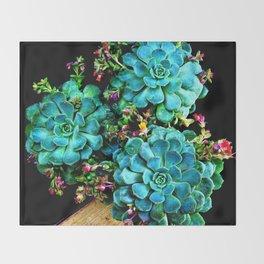 Beautiful Autumn plant green, blue Throw Blanket