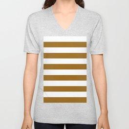 Horizontal Stripes - White and Golden Brown Unisex V-Neck