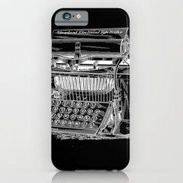 Antique Typewriter Patent Black iPhone Case