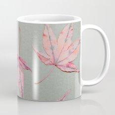 Japanese maple leaves - apricot on light khaki green Coffee Mug