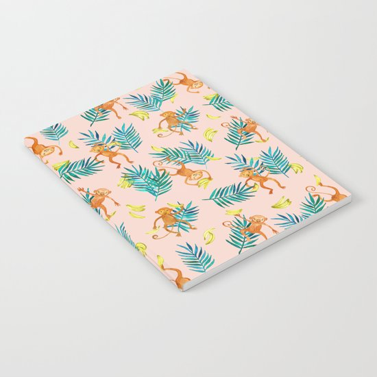 Tropical Monkey Banana Bonanza on Blush Pink Notebook