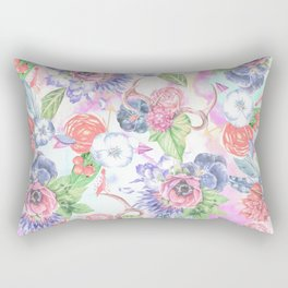 Bohemian Watercolor Flowers Leaves and Antlers Rectangular Pillow