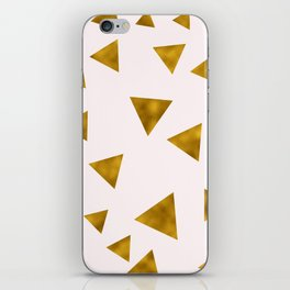 Soft Pink And Rustic Gold Triangles iPhone Skin