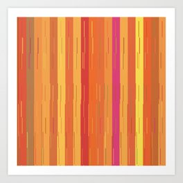 Orange and Yellow Stripes and Lines Abstract Art Print