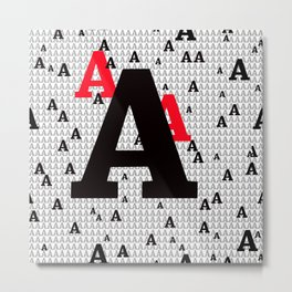 """Seamless Pattern of an """"A"""" in Black, Red And Grey Metal Print"""