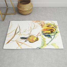 Yellow Bird and Sunflowers, Yellowhammer Rug