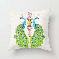 peacock Throw Pillows featuring peacock by Manoou