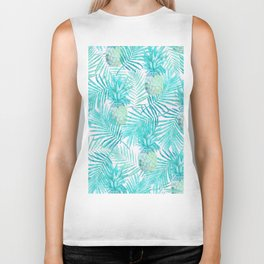 Turquoise Palm Leaves and Pineapples on Pink Biker Tank