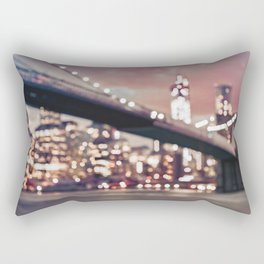 New York City Brooklyn Bridge Lights Rectangular Pillow