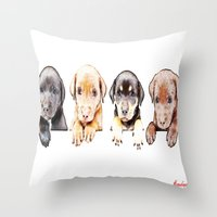 puppies Throw Pillows featuring cachorros ( puppies  ) by arnedayan