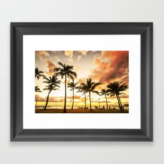 Typical Picturesque Waikiki Beach Sunset Framed Art Print
