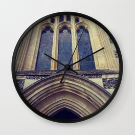Old English church vintage print . Wall Clock