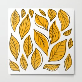 Yellow Autumn Leaves Metal Print