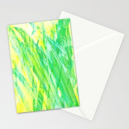 Grassy Abstract in Yellow Green Aqua White #nature #painting Stationery Cards