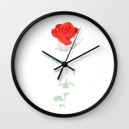 Fading red rose Wall Clock