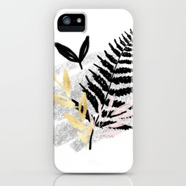Black Abstract Leafe iPhone Case