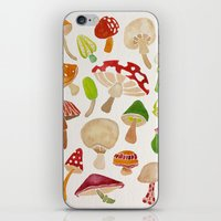 mushrooms iPhone & iPod Skins featuring Mushrooms by Cat Coquillette