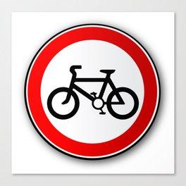 Cyclist Road Traffic Sign Canvas Print