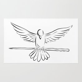 Soaring Dove Clutching Staff Front Drawing Rug