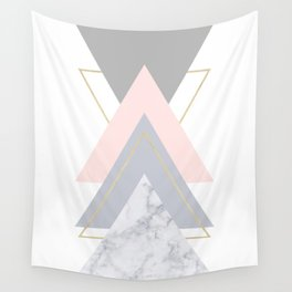 Blush Marble Gray Gold Geometric Pattern Wall Tapestry