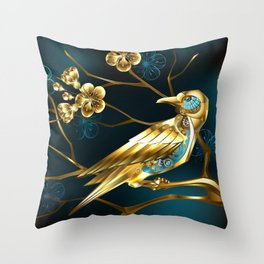 Steampunk Bird with Sakura Throw Pillow
