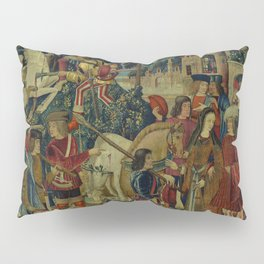 The Unicorn is Killed and Brought to the Castle (from the Unicorn Tapestries) 1495–1505 Pillow Sham