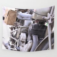 motorbike Wall Tapestries featuring Old motorbike by Carlo Toffolo