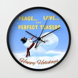 Peace, Love and Perfect Teasers Pilates Holiday art. Wall Clock