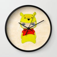 winnie the pooh Wall Clocks featuring A Boy - Winnie-the-Pooh by Christophe Chiozzi