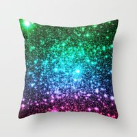 glitter Throw Pillows featuring glitter Cool Tone Ombre by 2sweet4words Designs
