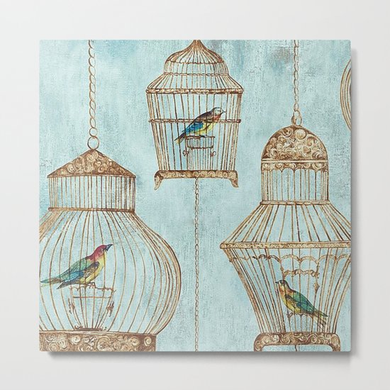 Vintage dream- Exotic colorful birds in cages on aqua background #Society6 Metal Print