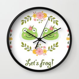 Let's frog! Funny lesbian frogs couple Wall Clock