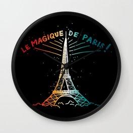 Le Magique De Paris (the magic of...) French Artwork, Eiffel Tower Print Wall Clock