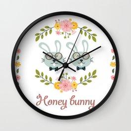 Honey bunny. Gay rabbits couple Wall Clock