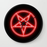 pentagram Wall Clocks featuring Bright Neon Red Pentagram by PodArtist