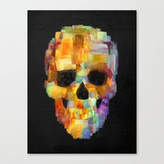 Skull Grunge Paint Black Canvas Print