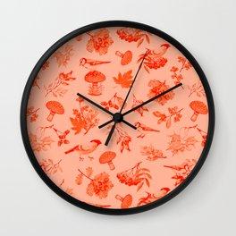 Red Autumn Botanical Pattern Wall Clock
