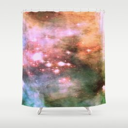 Colorful Pink Sparkle Carina Nebula Abstract Shower Curtain