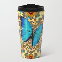 ANTIQUE STYLE SUNFLOWERS BUTTERFLIES YELLOW GRUNGE ART Travel Mug