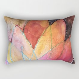 Lotus Dreaming in Colour and Dots Rectangular Pillow