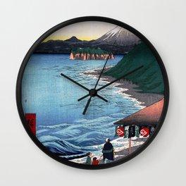 Hiroshige - 36 Views of Mount Fuji (1858) - 19: The Seven Ri Beach in Sagami Province Wall Clock