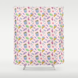 Cute pink candy and ice-cream Shower Curtain