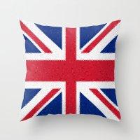 british flag Throw Pillows featuring British flag mosaic by Zora Zora