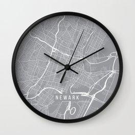 Newark Map, New Jersey USA - Pewter Wall Clock