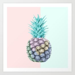 Pineapple with pastel background Art Print