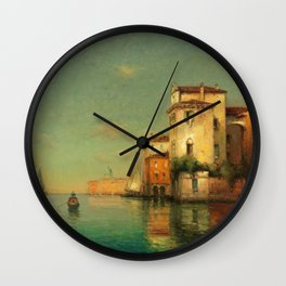 Gondolier on a Venetian Canal landscape painting by Antoine Bouvard Wall Clock