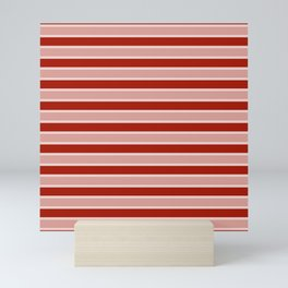Large White and Dark Salem Red Milk Paint Stripes Mini Art Print