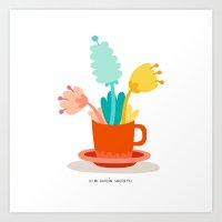 cup Art Prints featuring Cup by Mi Jardín Secreto