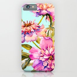 Flowery nature and golden butterfly iPhone Case