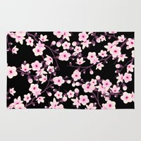 cherry blossoms Area & Throw Rugs featuring Cherry Blossoms by Baydur Mandalaart